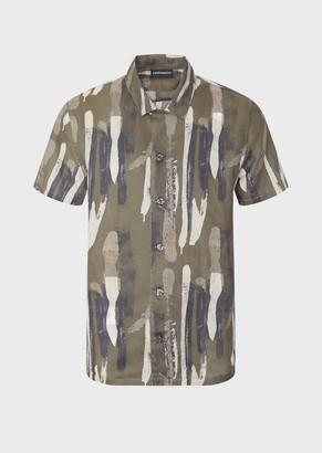 Emporio Armani Mixed-Linen Brushstroke-Print Shirt