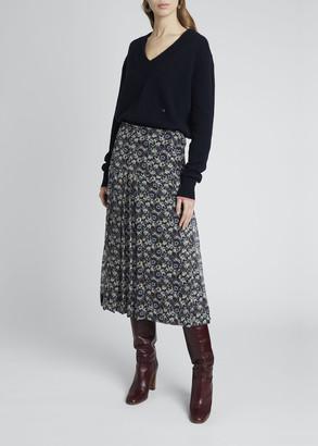 Victoria Beckham Floral Print Pleated Midi Skirt