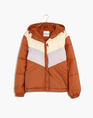 Madewell Chevron Packable Puffer Jacket in Colorblock