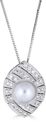 BELPEARL 14k White Gold 8.5mm Pearl & Diamond Pendant Necklace
