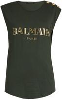 Balmain Logo-print jersey tank top