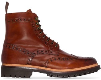 Grenson Fred hand-printed leather ankle boots