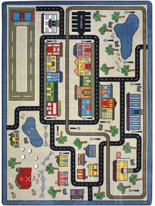 "Joy Carpets Kid Essentials Rug, Tiny Town, 5'4""x7'8"", Pewter"