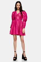 Topshop Pink V Neck Taffeta Mini Dress