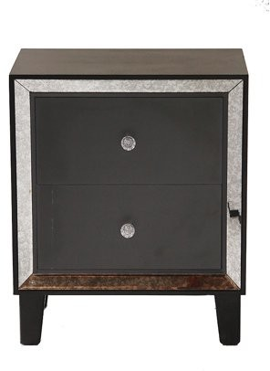 Homeroots 23.5' Black Wood Accent Cabinet with 2 Drawers and Antique Mirrored Glass