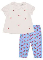 Florence Eiseman Cherry Collared Cap-Sleeve Top w/ Leggings, Blue/White, Size 6-24 Months