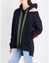 Mo&Co. Asymmetric cutout cotton-jersey hoody
