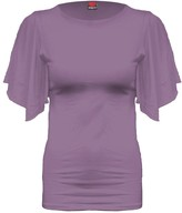 Spiral Direct Women's Gothic Elegance-Boat Neck Bat Sleeve Top Purple T-Shirt