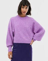 And other stories & round neck balloon sleeve sweater in violet