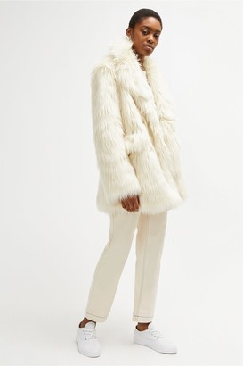 French Connection Nariko Faux Fur Double Breasted Coat