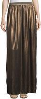 Brunello Cucinelli Silk-Lamé Maxi Skirt