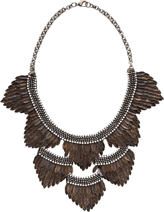 Deepa Gurnani Feather Bib Necklace - Gun
