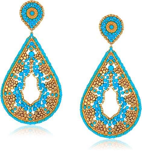 Miguel Ases Large Ankara Print Intricate Swarovski Teardrop Post Earrings