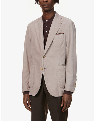 Oscar Jacobson Pleated-hem patch-pocket cotton blazer