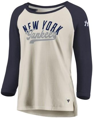 Women's Fanatics Branded White/Navy New York Yankees Heritage Open Raglan Tri-Blend 3/4-Sleeve T-Shirt