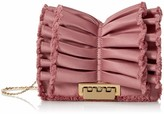 Zac Posen Earthette Accordion Crossbody Rose Cloud Satin Ruffle