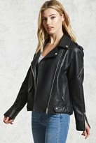 Forever 21 FOREVER 21+ Faux Leather Moto Zip Jacket