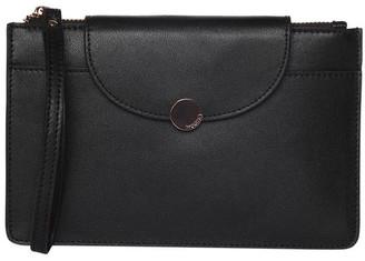 Mocha Brianna Leather Clutch Black