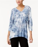 Style&Co. Style & Co Petite Medallion-Print Hoodie, Only at Macy's