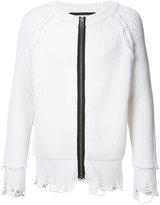 Haider Ackermann distressed zipper cardigan - men - Cotton/Cashmere - S