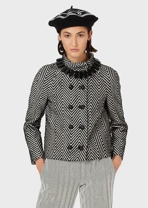 Emporio Armani Woven Lambskin Leather Jacket With Chevron Motif