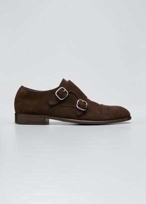 Ermenegildo Zegna Men's Suede Double-Monk Strap Loafers