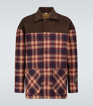 Gucci Checked wool and corduroy jacket