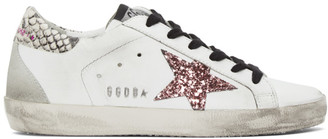 Golden Goose White Glitter Snakeskin Superstar Sneakers