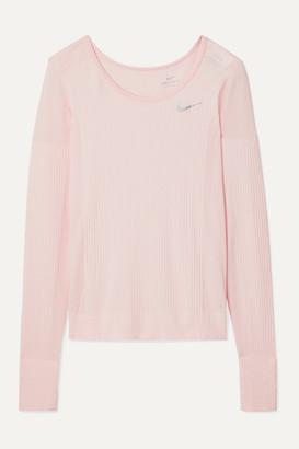 Nike Infinite Mesh-paneled Dri-fit Stretch-jacquard Top - Pastel pink