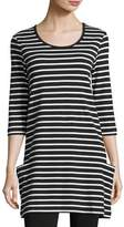 Joan Vass Striped Cotton Interlock Tunic, Black/White, Plus Size