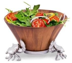 Arthur Court Acacia Wood Salad Bowl with Aluminum Crab Stand