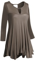 Hot From Hollywood Women's Round Keyhole Neck & Back 3/4 Sleeve Loose Casual Flare Tunic Top