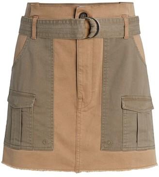 Frame Paperbag Two-Tone Cargo Mini Skirt