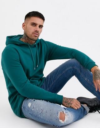 Asos Design DESIGN longline hoodie in dark green