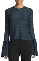 Co Long-Sleeve Bell-Cuff Sweater, Indigo