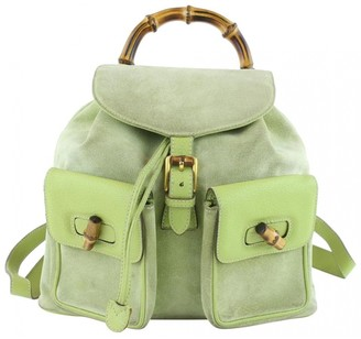 Gucci Bamboo Green Suede Backpacks