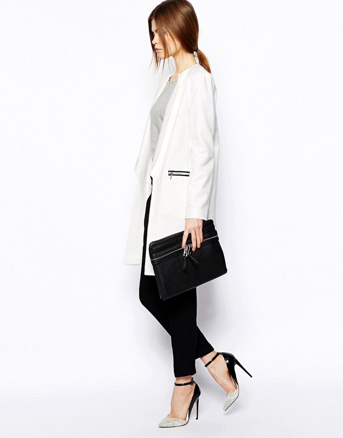 Asos Coat in Texture with Side Splits