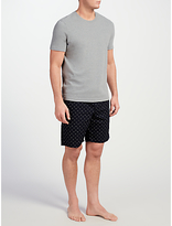 John Lewis T-shirt And Triangle Print Shorts Lounge Set, Grey/navy