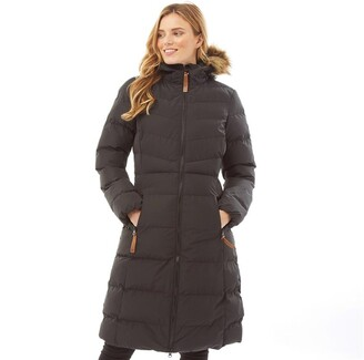 Trespass Womens Audrey Waterproof Padded Hooded Long Jacket Black