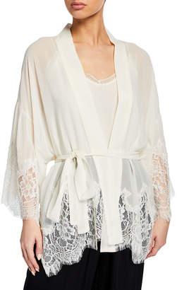 Gold Hawk Coco Lace-Trim Short Kimono