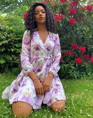 Monki Molly long sleeve floral print wrap dress in purple