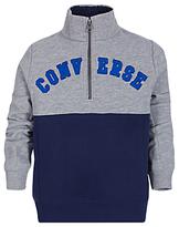 Converse Boys' Popover Colour Block Sweatshirt, Grey