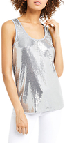 Oasis Sequin Vest, Pale Grey