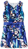 Blue & Pink Abstract Butterfly Pleated A-Line Dress - Girls