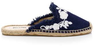 Soludos Canvas Frayed Floral Espadrille Mules