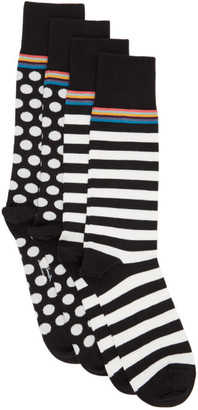 Paul Smith Two-Pack Black and White Stripes and Dots Socks