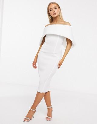 ASOS DESIGN fold front bardot midi pencil dress in ivory