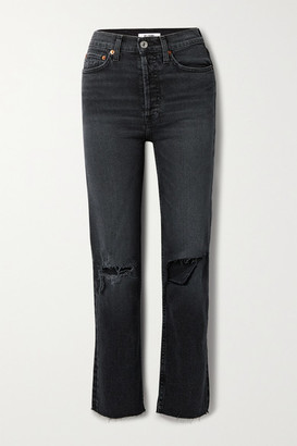 RE/DONE 70s Stove Pipe Cropped Distressed High-rise Straight-leg Jeans - Black