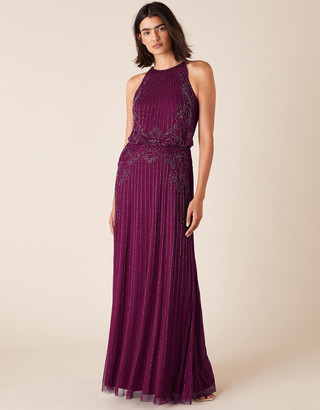 Monsoon Belle Bead Embellished Maxi Dress in Recycled Fabric Red