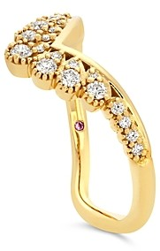 Hayley Paige for Hearts on Fire 18K Yellow Gold Behati Silhoutte Power Band with Diamonds & Pink Sapphire